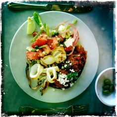 greek lunch - stuffed aubergine - grilled calamari - greek salad.