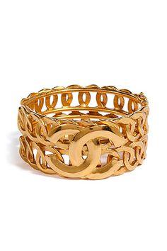 Vintage Chanel 18k Gold Cuff Bracelet