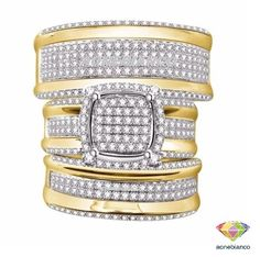 His and Her Diamond Engagement Bridal Wedding Band Trio Ring Set 14K Yellow Gold #aonebianco