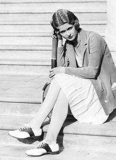 Joan Bennett, 1930 fashion style saddle shoes skirt casual tennis photo 30s