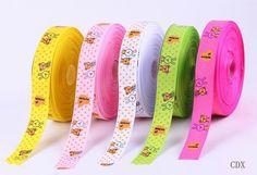 $31.80 25mm Mixed Color Cute Rabbit Printed Grosgrain Ribbon Cord Crafts Hair Bow