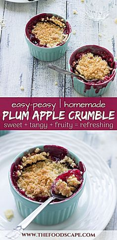 Plum Apple Crumble Recipe Easy Plum Apple Crumbles with crunchy buttery streusel and a gooey fruity filling Perfect Fall Dessert Perfect Summer Dessert Summer Dessert Rec. Dessert Simple, Bon Dessert, Summer Dessert Recipes, Winter Desserts, Healthy Dessert Recipes, Apple Recipes For Dinner, Plum And Apple Crumble, Plum Crumble Recipes, Desserts Sains