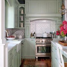 mint green cabinets