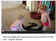 Beatiful twins are laughing in the swimming pool. I like this vid. That adorable kids are very fanny.