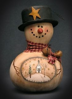 ~ snowman made from birdhouse gourd (why did I not think of this?)