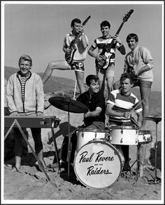 Dick Clark with Paul Revere & The Raiders in a publicity photo for Where The Action Is (1965-67, ABC)