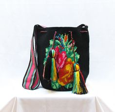 Black multi color wayuu mochila/bag with rose motive by GreenDatum on Etsy