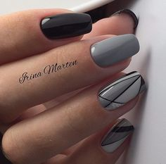 Autumn nails, Black and white geometric nails, Everyday nails, Fall nails 2017, Geometric nails, Grey nails ideas, Modern nails, Nails ideas 2017