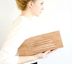 The Carrie Clutch - The Carrie clutch is hand crafted by me out of 100% wood, and 100% luxurious white leather