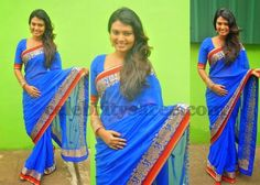 Neha in Blue Georgette Saree | Saree Blouse Patterns