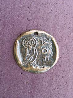 Owl Athenian Owl Bronze Pendant Handmade by the Green Man by GreenManJewellery on Etsy