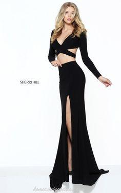 Black Sherri Hill 50920 Cutout Jersey Prom Dress 2017