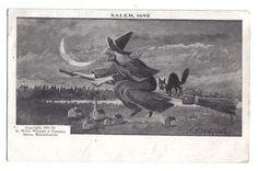 Witch Riding Broom Stick w/ Black Cat~Crescent~Salem 1692~Halloween~1904+ #Halloween