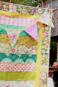 Half Price Quilt, Colorful and One of a Kind, Baby Crib Quilt and Matching Bunting, Featuring Designer Fabrics. Ready To Ship.