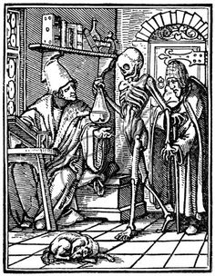 Death and the Physician. Woodcut by Hans Lützelburger after Hans Holbein the Younger, from the series 'Dance of Death,' Lyons, 1545.