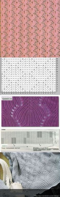Knitting Patterns Lace Patterns with knitting needles. Lace Knitting Stitches, Crochet Stitches Patterns, Knitting Charts, Lace Patterns, Loom Knitting, Knitting Designs, Stitch Patterns, Knitting Needles, Free Knitting
