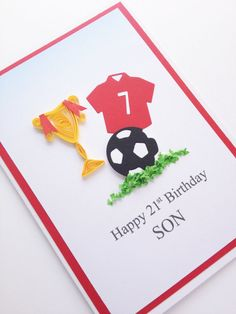 Men's Birthday Football Quilled Card. Dad Brother Son by Joscinta, £5.00