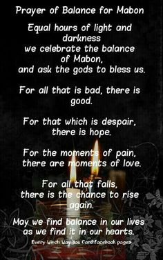 Mabon prayer - Pinned by The Mystic's Emporium on Etsy