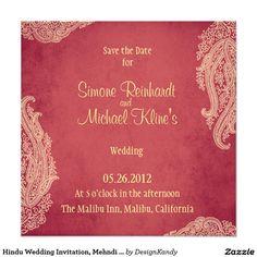 Hindu Wedding Invitation, Mehndi red and gold Card