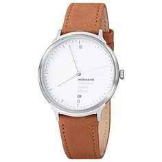 Buy Mondaine Mh1.l2210.lg Unisex Helvetica Leather Strap Watch, Brown Online at johnlewis.com