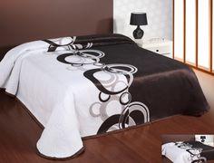 Prehoz na posteľ obojstranný bielo hnedý s kruhmi