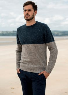 The Magee 1866 two toned Pettigo Crew Neck Jumper in blue and oat. Plain knit, lambswool-nylon blend with colurful neps, synonymous with Donegal tweeds. Jumper, Men Sweater, Donegal, Weekend Wear, Tweed, Crew Neck, Suits, Casual, Sweaters