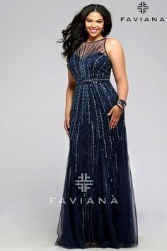 Faviana 9382 is a long stretch tulle plus size evening gown with illusion mesh bodice and linear beading design.