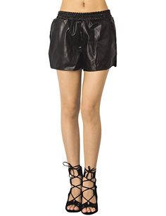 iB-iP Women'S Faux Leather Elastic Waist Loose Boyshorts Low Rise Casual Shorts >>> Check out the image by visiting the link.