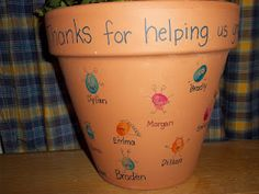 """Monster thumb print Flower Pots...""""Thanks for helping us grow!"""""""