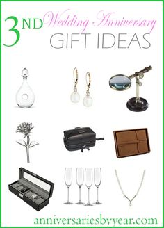 3rd Anniversary gift ideas for Leather, Crystal and Glass themes.  #leatheranniversary #crystalanniversary #glassanniversary #anniversary #leather #crystal #glass #ideas