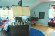 Ey matey, eres a room for ya, Capt'n Pete says come on down the gangplank to this special treasure a pirate bed and first mates bunk with a pegleg stool and treasure chest to boot. It's every boys dream!, Boys' Rooms Design