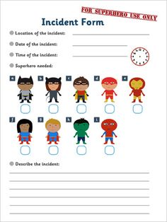 Superhero Incident Form | Superhero Role-Play Super Hero Activities, Drama Activities, Eyfs Activities, Kindergarten Activities, Superhero Kindergarten, Superhero Classroom, Superhero Ideas, Role Play Areas Eyfs, Traction Man
