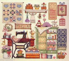 Sunset Cozy Sewing Room Sewing Machine Quilts Flowers Stamped Cross Stitch Kit | eBay