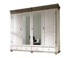 Dieser große Kleiderschrank im Landhausstil mit Spiegelfront ist das perfekte Möbel für Ihr Schlafzimmer.