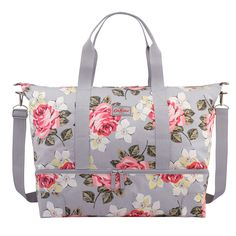 Buy Cath Kidston Richmond Rose Foldaway Overnight Bag, Grey from our Holdalls range at John Lewis & Partners. Cath Kidston Handbags, Rockabilly, Diy Bags Purses, Floral Bags, Hospital Bag, Casual Bags, Travel Bags, Bag Accessories, Messenger Bag