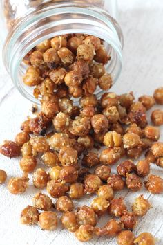 Garlic, Herb and Parmesan Roasted Chickpeas; a great alternative to sugar snacks for kids. Use organic cheese