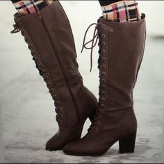 "Size 9 brown lace up boots! Beautiful & brand new. These are from the boutique ""nanamacs"" Nanamacs Shoes Heeled Boots"