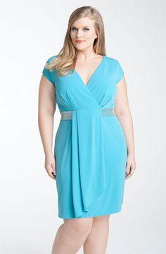 Calvin Klein Beaded Matte Jersey Dress (Plus) | Nordstrom
