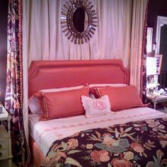 One of my favorite rooms at the New York Holiday House the year I went. I don't think we were supposed to be taking pictures so this doesn't do this room justice but I just loved the brown and orange combination with the pretty detailing on the bedding and monogram! The year I went the house was an Upper East Side mansion. This years event is in Soho. A real treat if you are able to make it!  #holidayhousenyc #hhsoho #design #decorating #events #interiordesign #patterns #bedrooms…