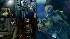 Creepypasta Proxies wallpaper.  Slenderman, Ticci Toby, Masky, and Hoodie.  I was suddenly compelled to fish through my pictures again and throw together yet another of these things.
