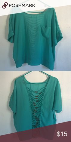 Cute summer top Great for summer! 100% polyester. Very comfy to wear. Wore once. Going for vacation 7-11-16 to 7-25-16. I'll ship the item when get back. Thank you! Tops Blouses