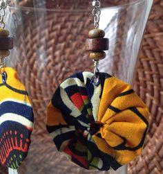 Yellow African Earrings Ankara earrings fabric by ThriftyUpenyu