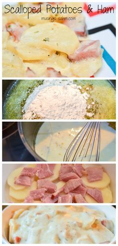 This Scalloped Potatoes & Ham recipe is a tried-and-true family favorite recipe. It's the perfect way to use leftover ham. This Scalloped Potatoes & Ham recipe is a tried-and-true family favorite recipe. It's the perfect way to use leftover ham. Pork Recipes, Crockpot Recipes, New Recipes, Cooking Recipes, Favorite Recipes, Potato Recipes, Cooking Ideas, Potato Meals, Gourmet