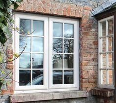 French pvc window in cream with Georgian bars for that period look. Costello Windows manufacture and fit our upvc french windows. - May 03 2019 at 01:48AM Green Windows, Pvc Windows, French Cottage Decor, French Country Decorating, French Windows, Window Design, Cottage Homes, Exterior, Interior Doors