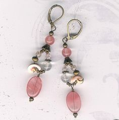 Semi-Precious Strawberry Quartz Stones with Antique Brass, Baby Shells and Crystal Beaded Earrings on Etsy, $12.95