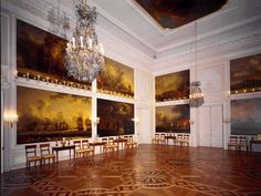 The Chesme Hall, Peterhof Palace.  The Chesma Hall is decorated with twelve large paintings of the Battle of Chesma, a stunning naval victory of the Russo-Turkish War, 1768-1774. These were painted between 1771 and 1773 by the German artist Jacob Philipp Hackert.