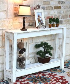 Welcome guests in distressed wood style with this handmade table that accents your room or entryway with a warm rustic finish. Weight capacity: 40 W x H x DReclaimed woodNo assembly required Entryway Console Table, Rustic Entryway, Entryway Decor, Rustic Decor, Farmhouse Decor, Rustic Entry Table, Entryway Furniture, Farm House Entry Table, White Entry Table
