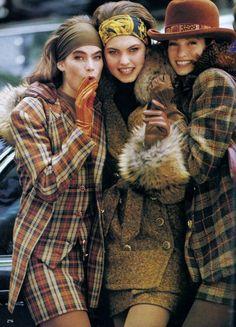 US Vogue August 1990  Fashion's New Ease  Photo Arthur Elgort Stylist Jenny Capitain Models Claudia Schiffer, Meghan Douglas, Greta Cavazzoni, Mystee Beckenbach Hair Stephen Rose Makeup Michel Delarue