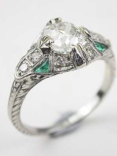 Antique Engagement Ring with Emerald Accents, RG-3414