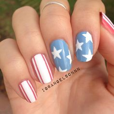 angelsonnn's festive tips. Show us your 4th of July-inspired nails! Tag your pic #SephoraNailspotting to be featured on our social sites.